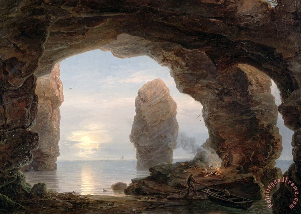 Fisherman in a Grotto Helgoland painting - Christian Ernst Bernhard Morgenstern Fisherman in a Grotto Helgoland Art Print
