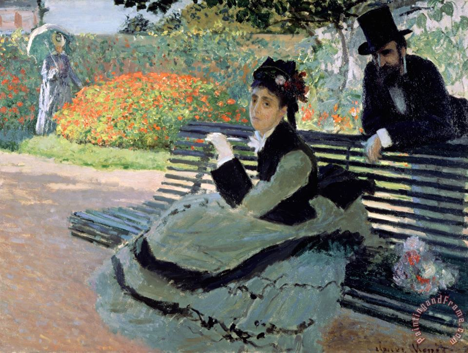 Claude Monet Madame Monet on a Garden Bench Art Painting
