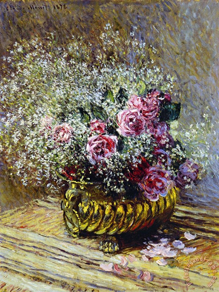 Roses in a Copper Vase painting - Claude Monet Roses in a Copper Vase Art Print