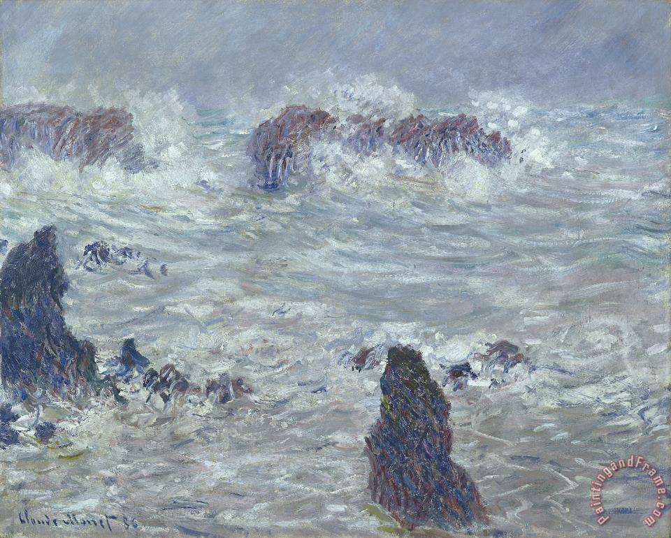 Storm off the Coast of Belle Ile painting - Claude Monet Storm off the Coast of Belle Ile Art Print