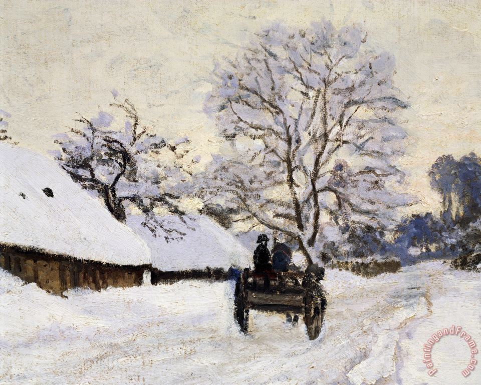 The Carriage- The Road To Honfleur Under Snow painting - Claude Monet The Carriage- The Road To Honfleur Under Snow Art Print