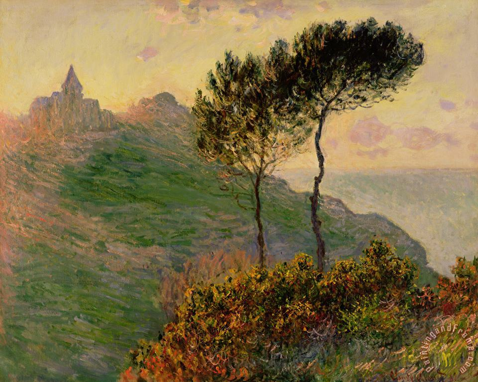 Claude Monet The Church at Varengeville against the Sunlight Art Painting