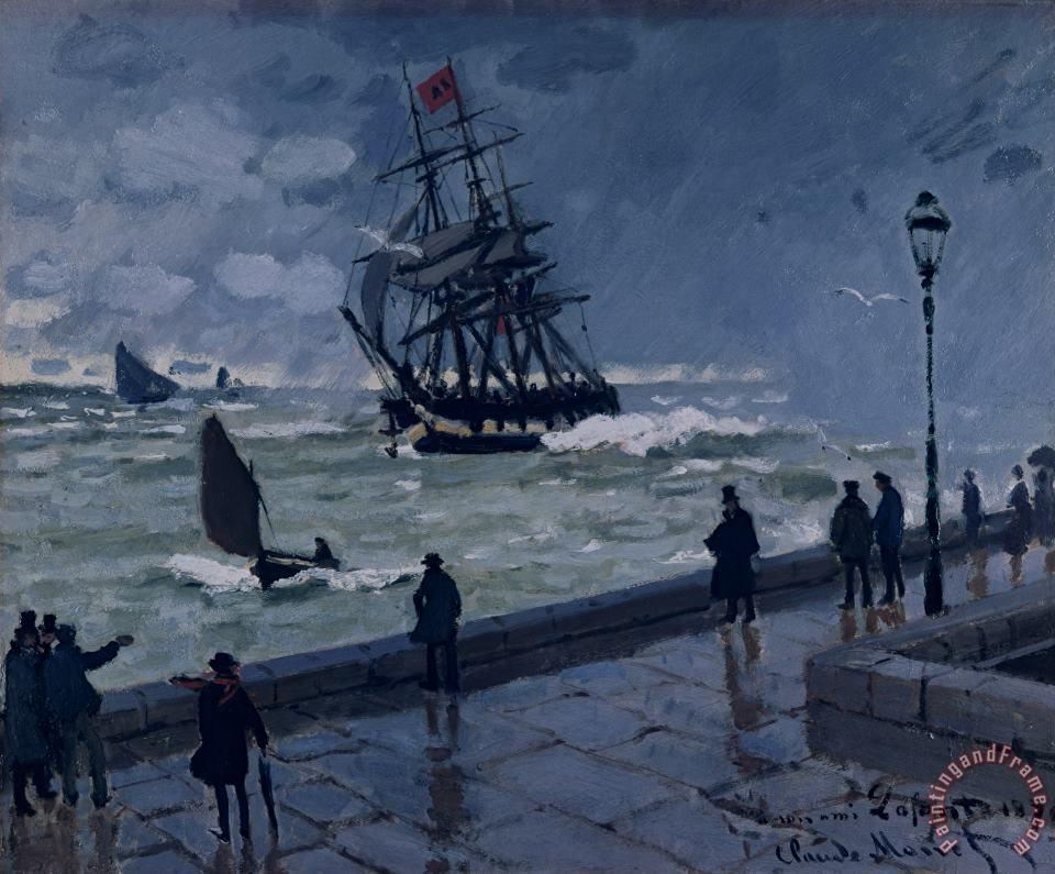 The Jetty at Le Havre in Bad Weather painting - Claude Monet The Jetty at Le Havre in Bad Weather Art Print