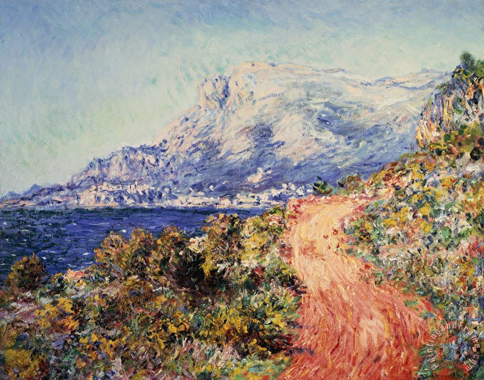 The Red Road near Menton painting - Claude Monet The Red Road near Menton Art Print
