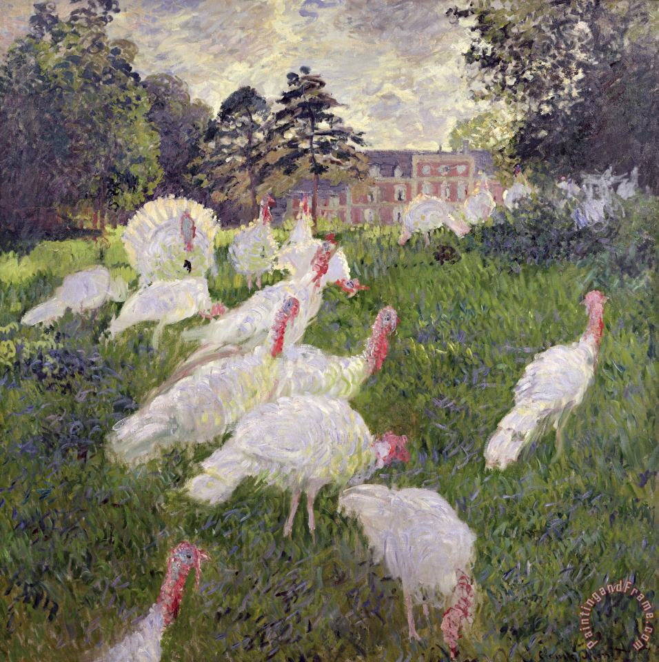 The Turkeys at the Chateau de Rottembourg painting - Claude Monet The Turkeys at the Chateau de Rottembourg Art Print