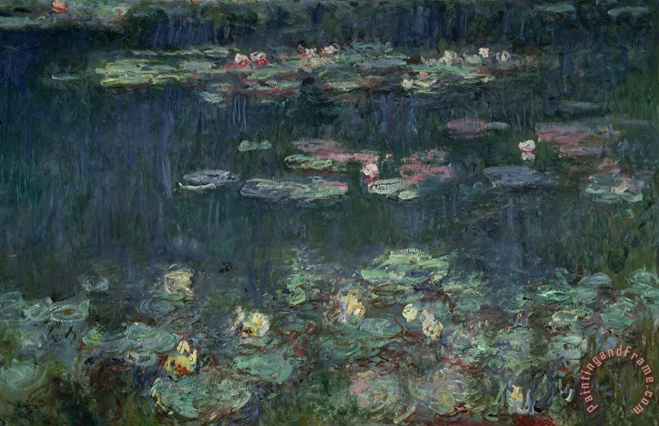 Waterlilies Green Reflections painting - Claude Monet Waterlilies Green Reflections Art Print