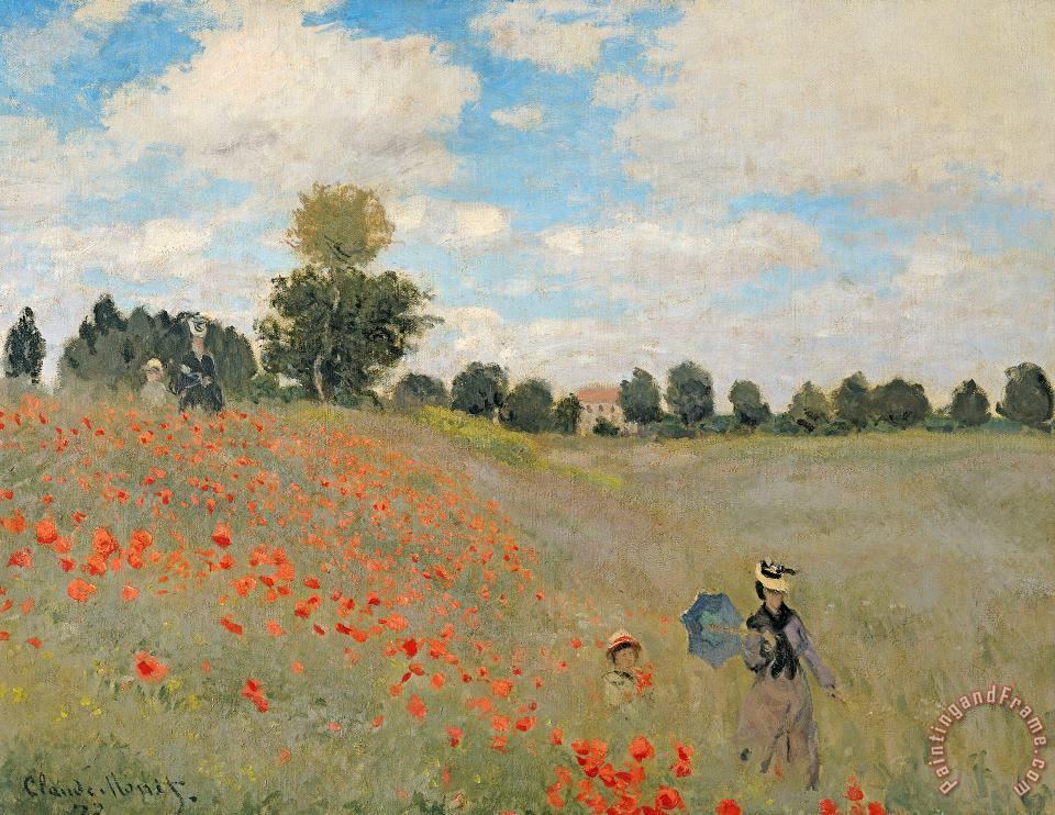Wild Poppies near Argenteuil painting - Claude Monet Wild Poppies near Argenteuil Art Print