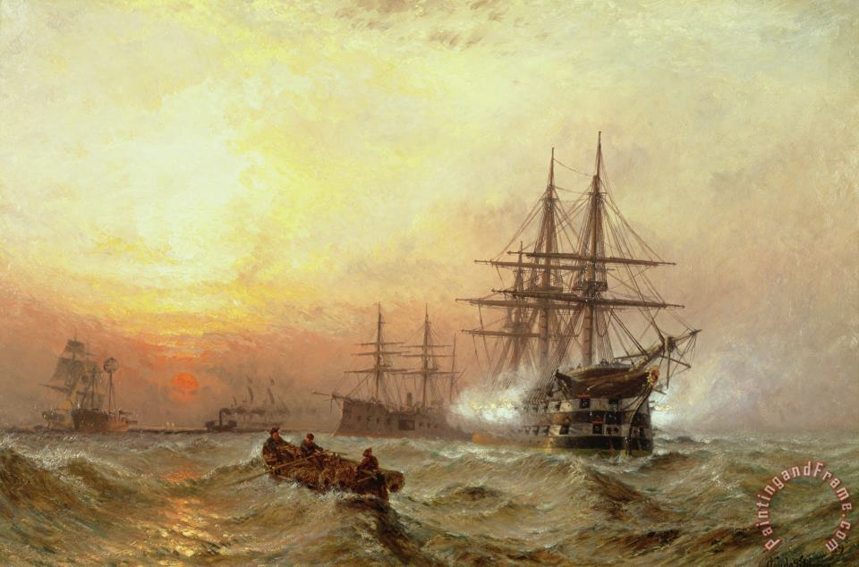 Man-o-War firing a salute at sunset painting - Claude T Stanfield Moore Man-o-War firing a salute at sunset Art Print