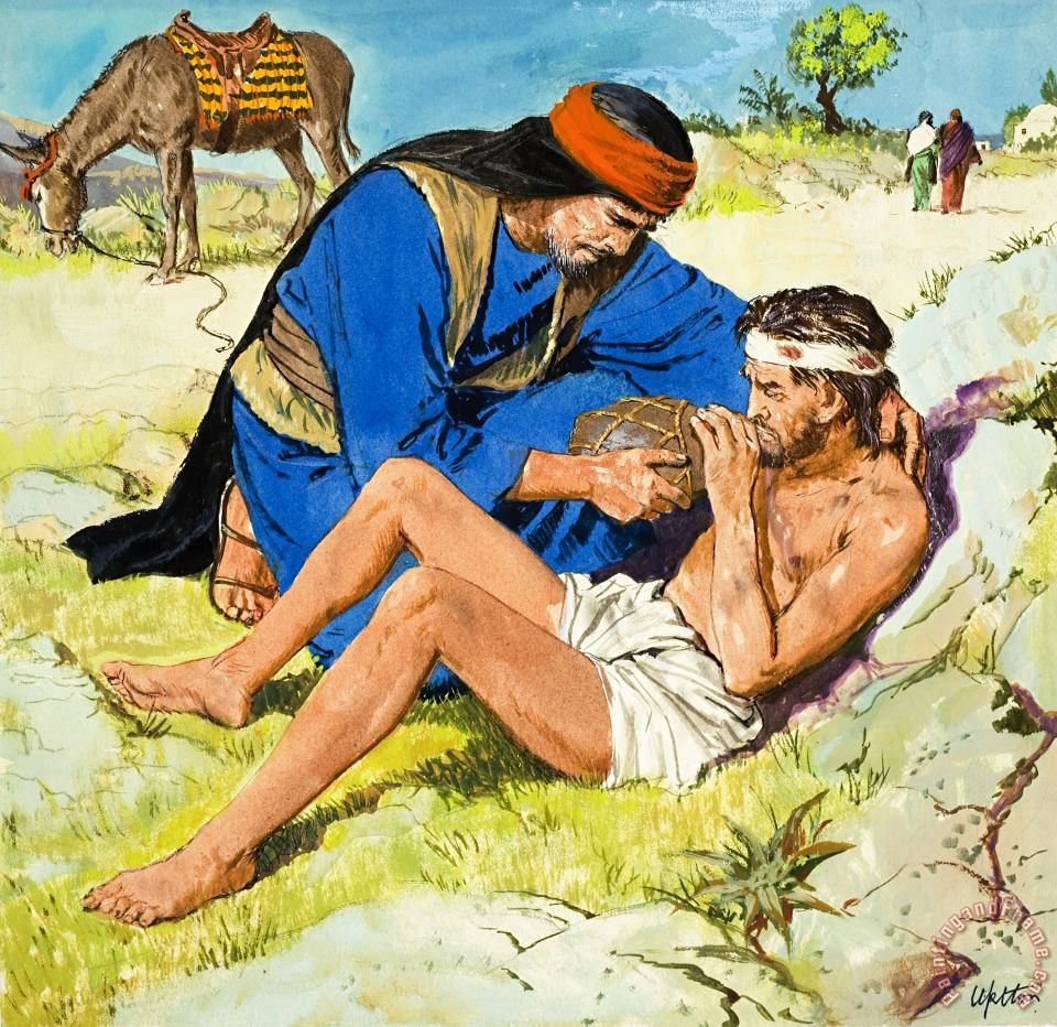 The Good Samaritan painting - Clive Uptton The Good Samaritan Art Print