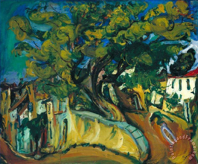 Cagnes Landscape with Tree painting - Collection Cagnes Landscape with Tree Art Print