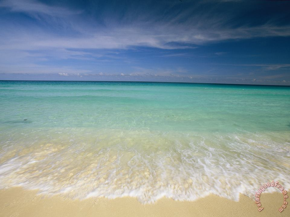 Clear Blue Water And Wispy Clouds Along The Beach at Cancun painting - Collection Clear Blue Water And Wispy Clouds Along The Beach at Cancun Art Print