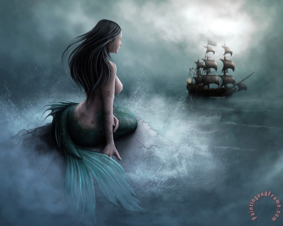 Collection Mermaid And Pirate Ship Art Print