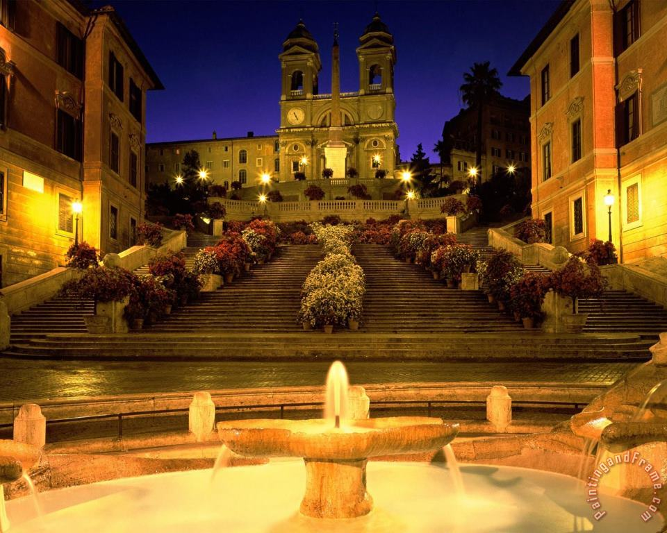 Trinita Dei Monti Steps Rome Italy painting - Collection Trinita Dei Monti Steps Rome Italy Art Print