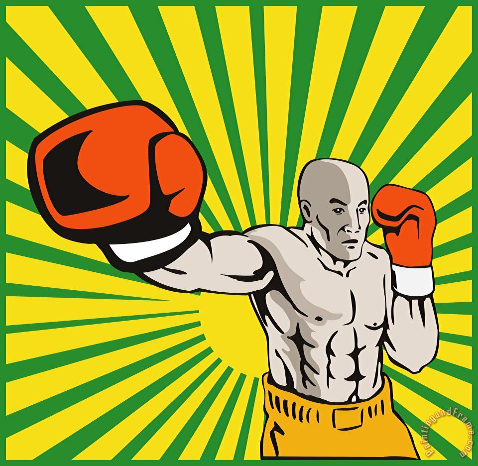 Boxer Boxing Jabbing Front painting - Collection 10 Boxer Boxing Jabbing Front Art Print