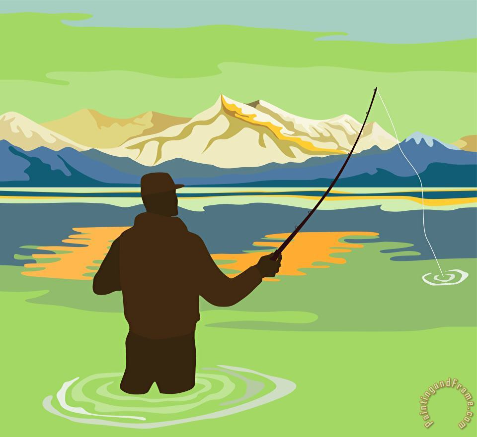 Fly Fisherman Rod and Reel Retro painting - Collection 10 Fly Fisherman Rod and Reel Retro Art Print
