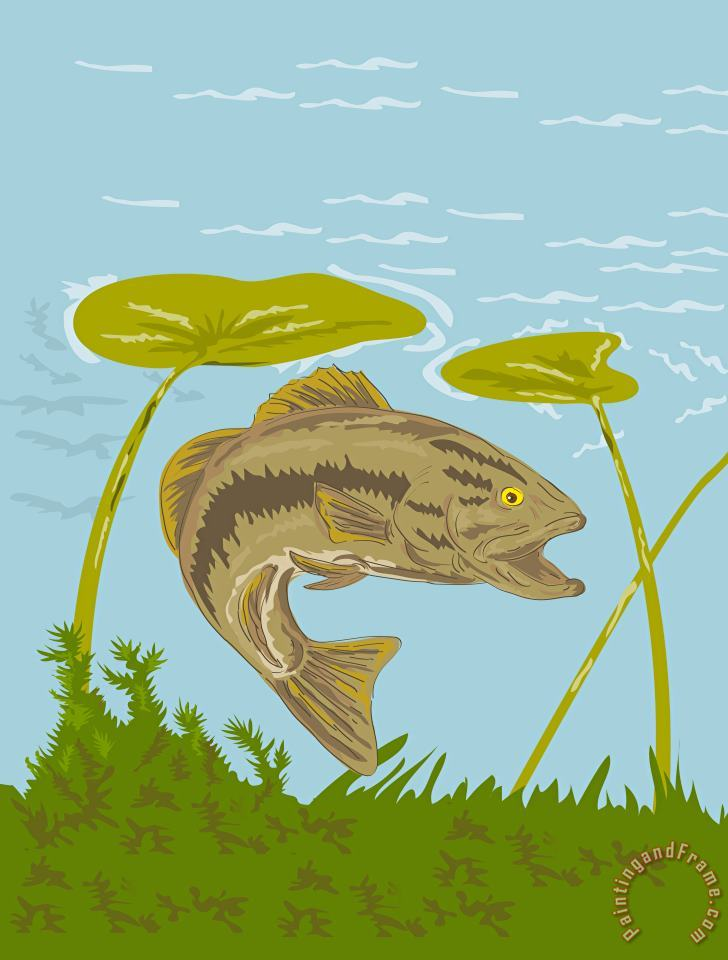 Collection 10 Largemouth Bass Fish Swimming Underwater Art Painting
