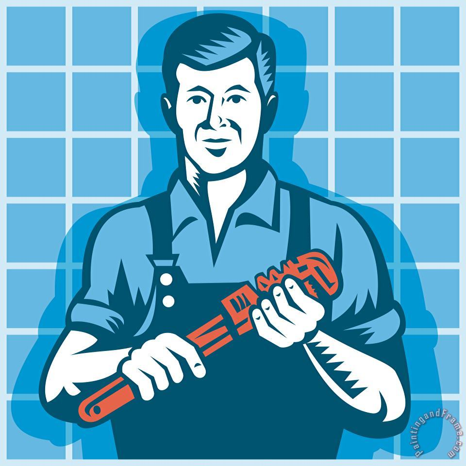 Collection 10 Plumber Worker With Monkey Wrench Retro Art Print