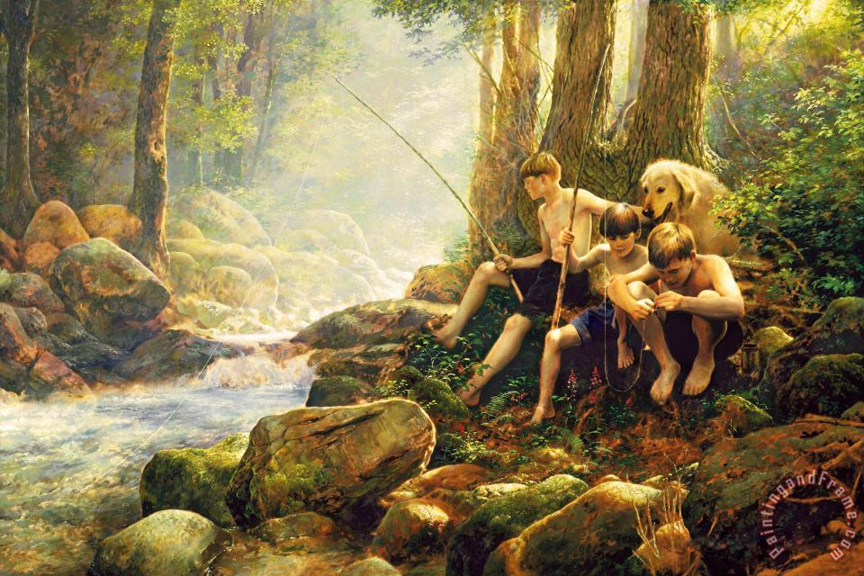 Hook Line And Summer painting - Collection 2 Hook Line And Summer Art Print