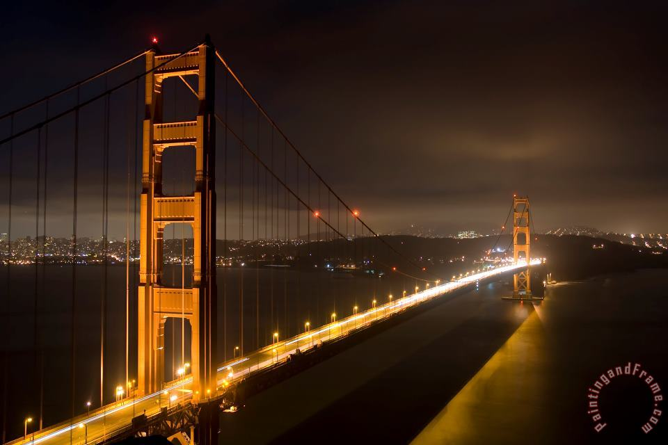 Collection 6 Golden Gate at night Art Print