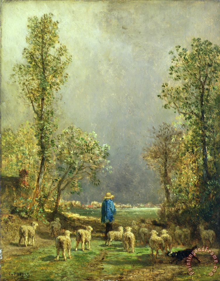 Sheep watching a Storm painting - Constant-Emile Troyon Sheep watching a Storm Art Print