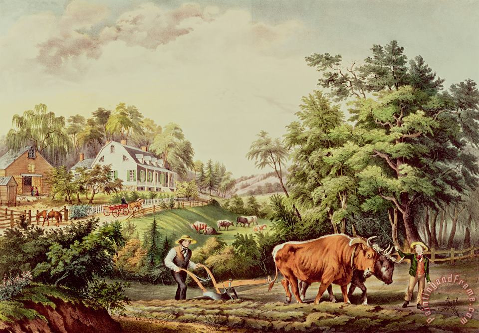 American Farm Scenes painting - Currier and Ives American Farm Scenes Art Print
