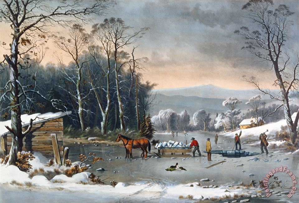 Winter in the Country painting - Currier and Ives Winter in the Country Art Print