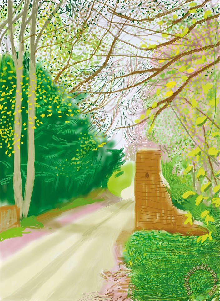 17th April, From The Arrival of Spring in Woldgate, East Yorkshire in 2011 (twenty Eleven), 2011 painting - David Hockney 17th April, From The Arrival of Spring in Woldgate, East Yorkshire in 2011 (twenty Eleven), 2011 Art Print
