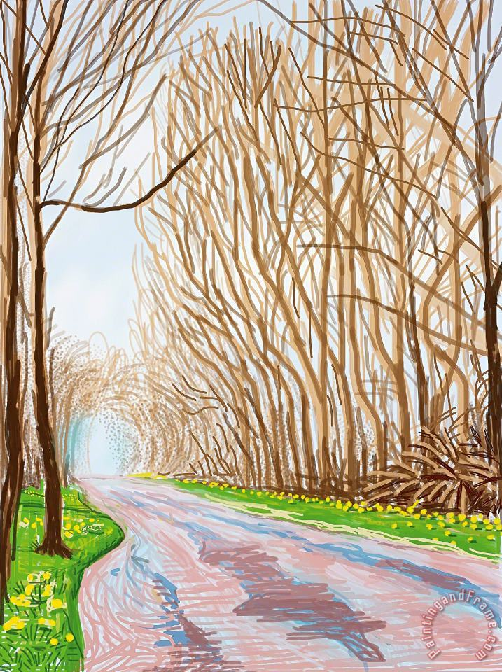 1 April, From The Arrival of Spring in Woldgate, East Yorkshire in 2011 (twenty Eleven), 2011 painting - David Hockney 1 April, From The Arrival of Spring in Woldgate, East Yorkshire in 2011 (twenty Eleven), 2011 Art Print