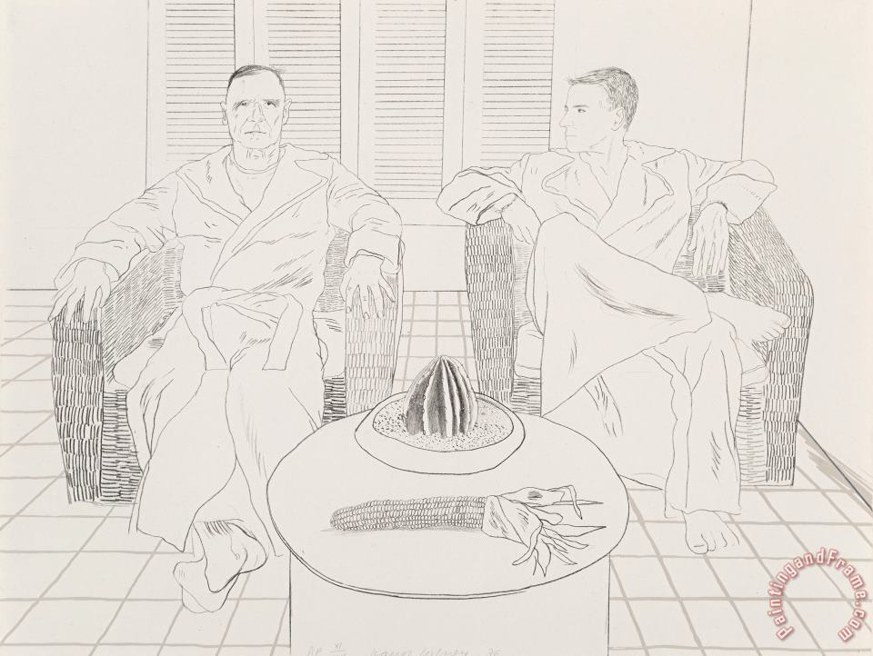 Christopher Ischewood And Don Bacardy, 1976 painting - David Hockney Christopher Ischewood And Don Bacardy, 1976 Art Print
