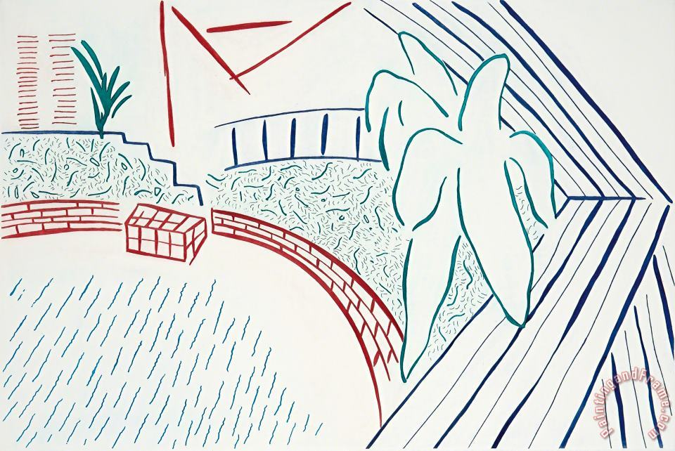 My Pool And Terrace, 1983 painting - David Hockney My Pool And Terrace, 1983 Art Print