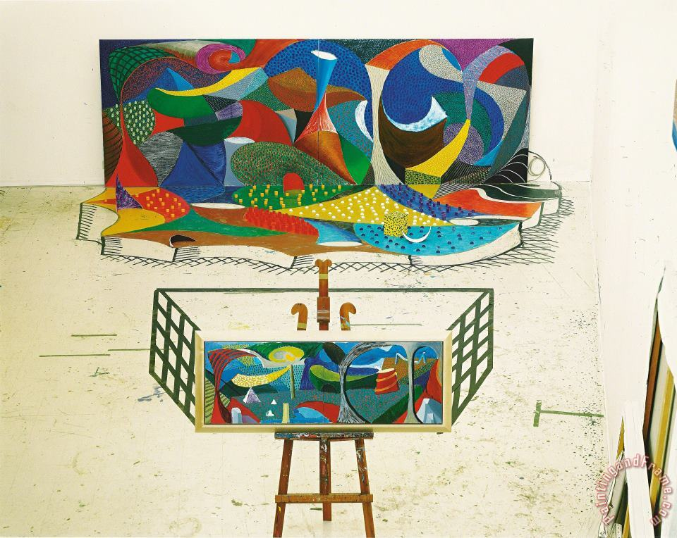 Snails Space The Studio March 28th 1995, 1995 painting - David Hockney Snails Space The Studio March 28th 1995, 1995 Art Print