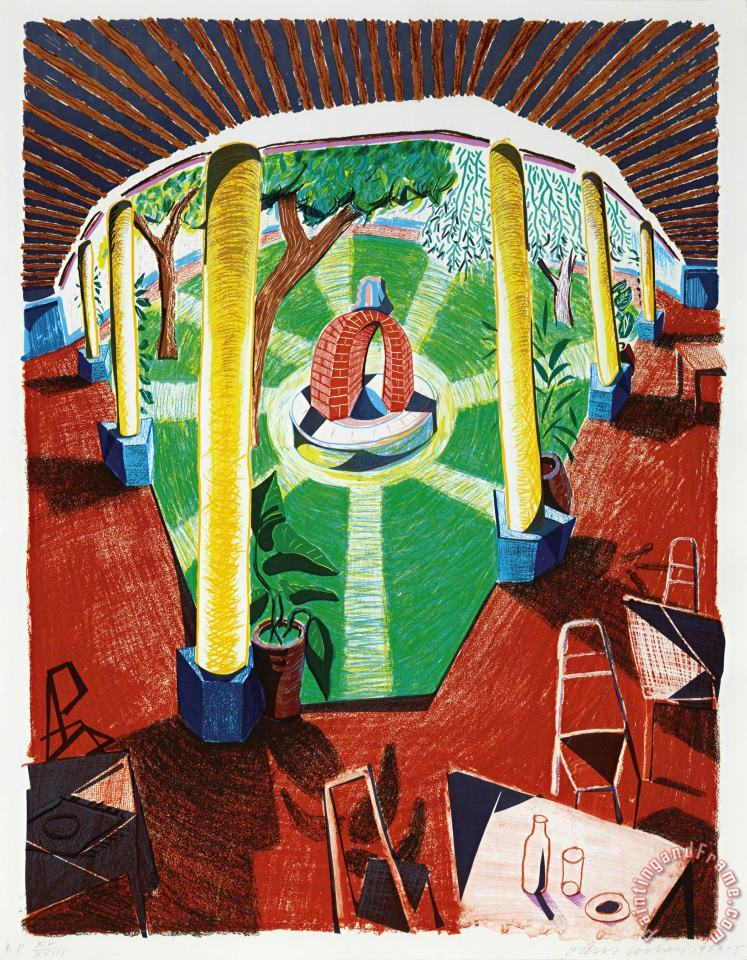 View of Hotel Well Iii, From Moving Focus, 1984 85 painting - David Hockney View of Hotel Well Iii, From Moving Focus, 1984 85 Art Print