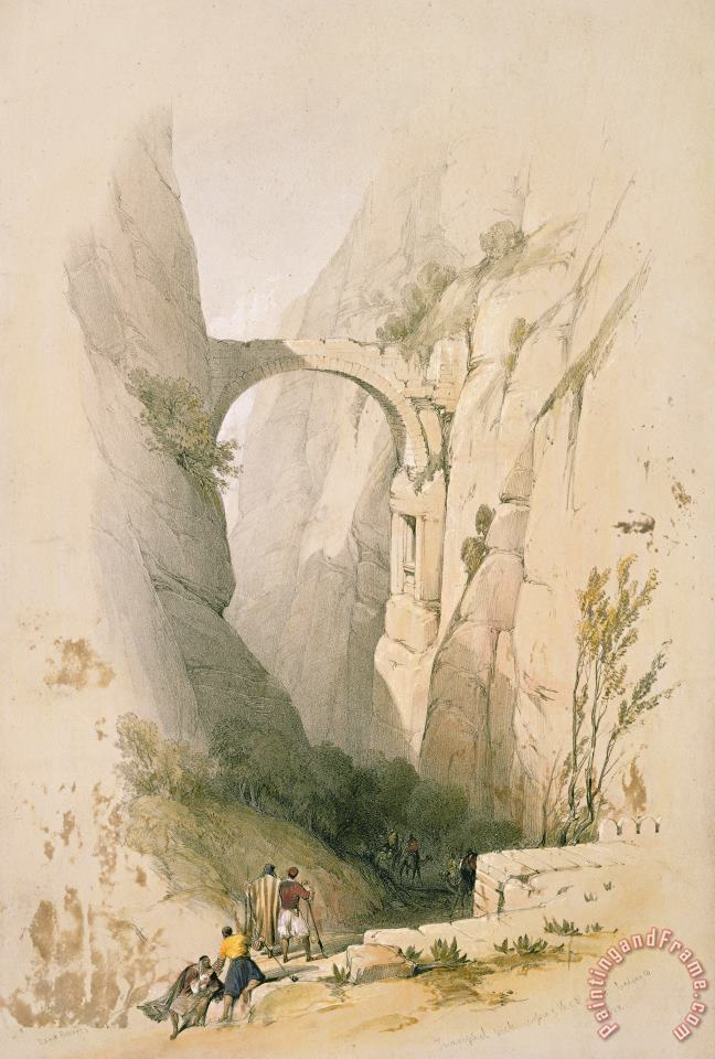 Triumphal Arch Crossing The Ravine Leading To Petra painting - David Roberts Triumphal Arch Crossing The Ravine Leading To Petra Art Print