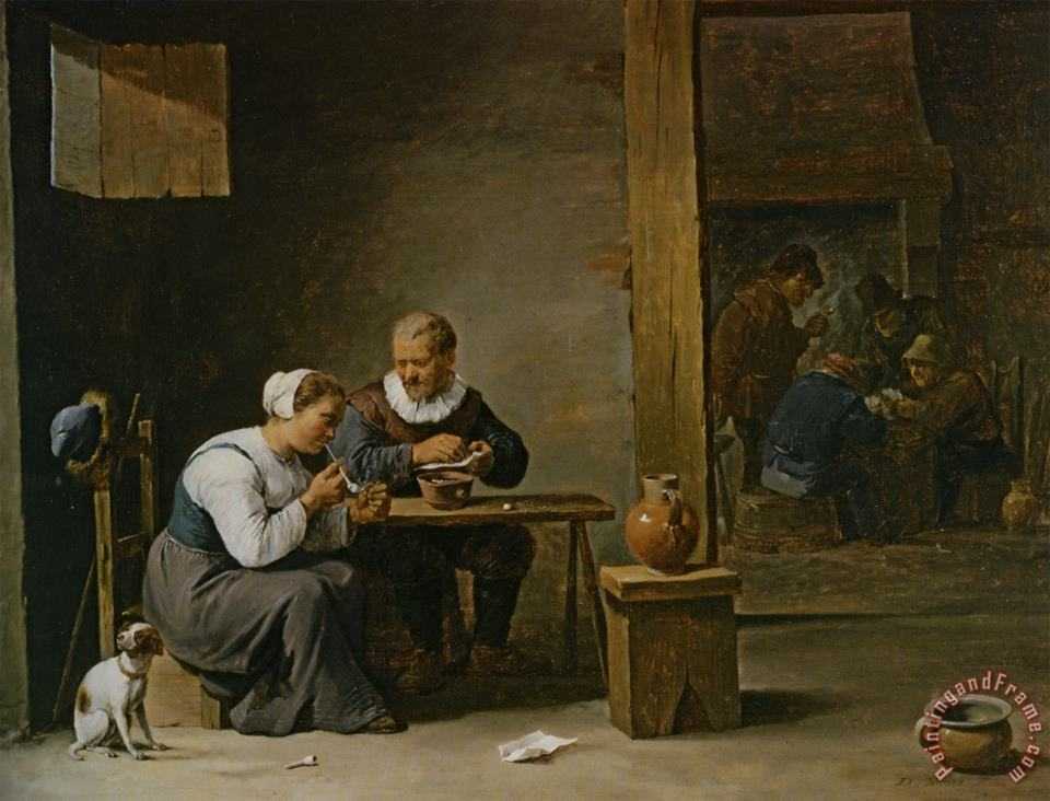 A Man And Woman Smoking a Pipe Seated in an Interior with Peasants Playing Cards on a Table painting - David the younger Teniers A Man And Woman Smoking a Pipe Seated in an Interior with Peasants Playing Cards on a Table Art Print