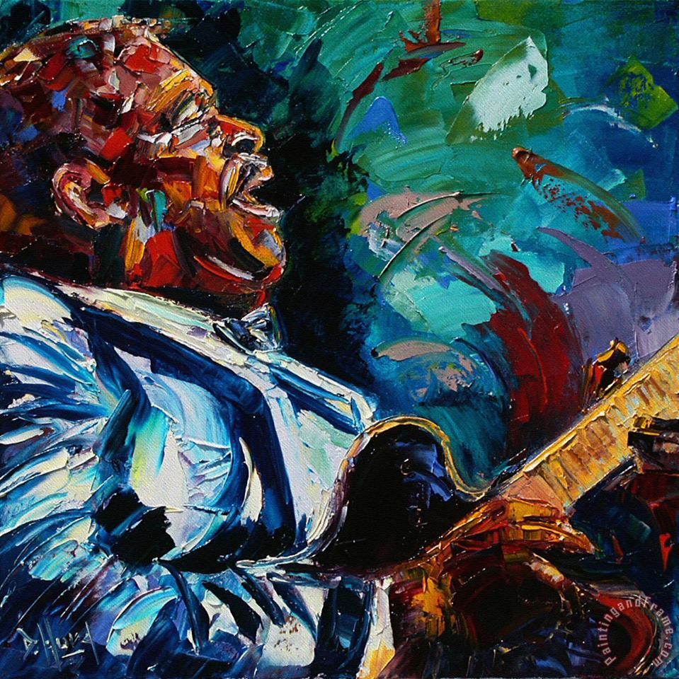 BB King painting - Debra Hurd BB King Art Print
