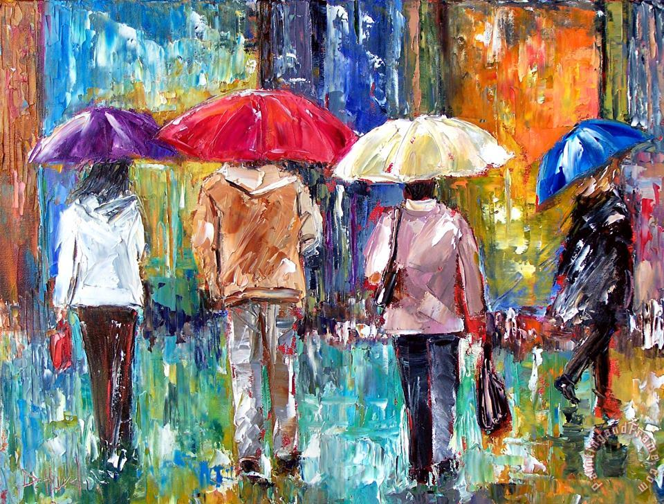 Big Red Umbrella painting - Debra Hurd Big Red Umbrella Art Print