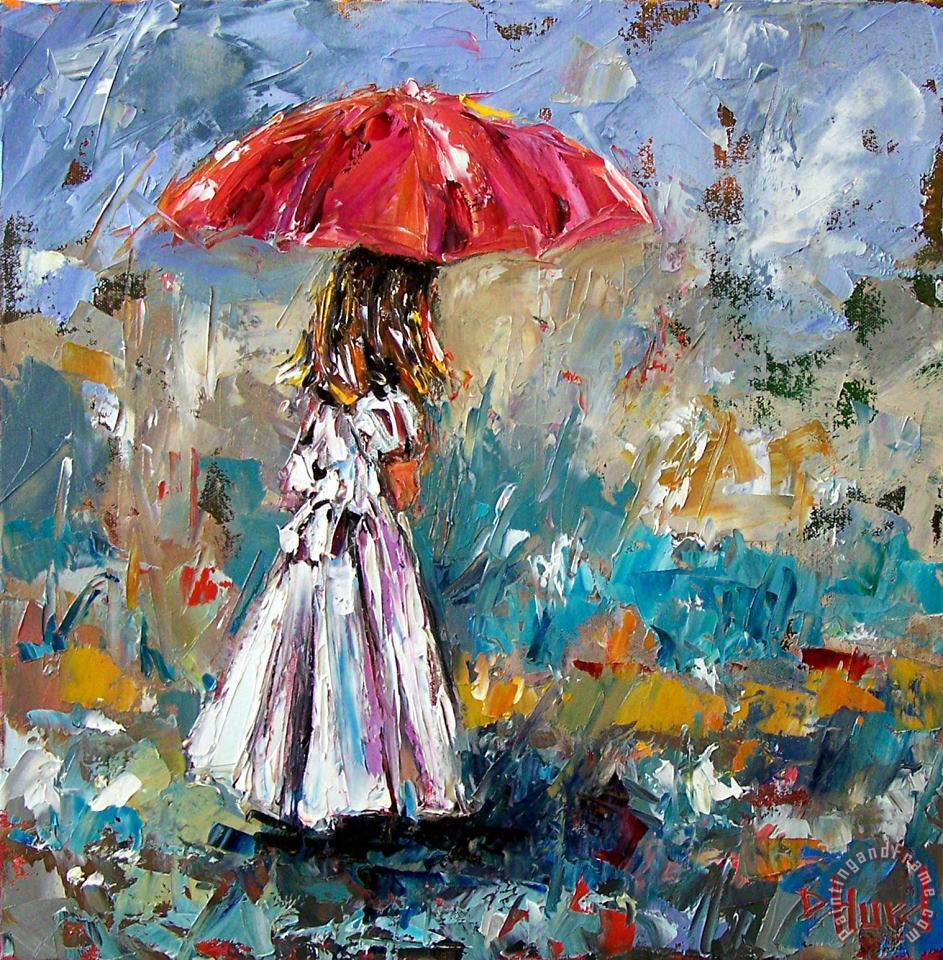 Her White Dress painting - Debra Hurd Her White Dress Art Print