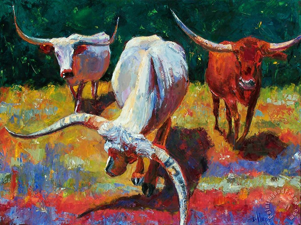 Three Texas Longhorns painting - Debra Hurd Three Texas Longhorns Art Print