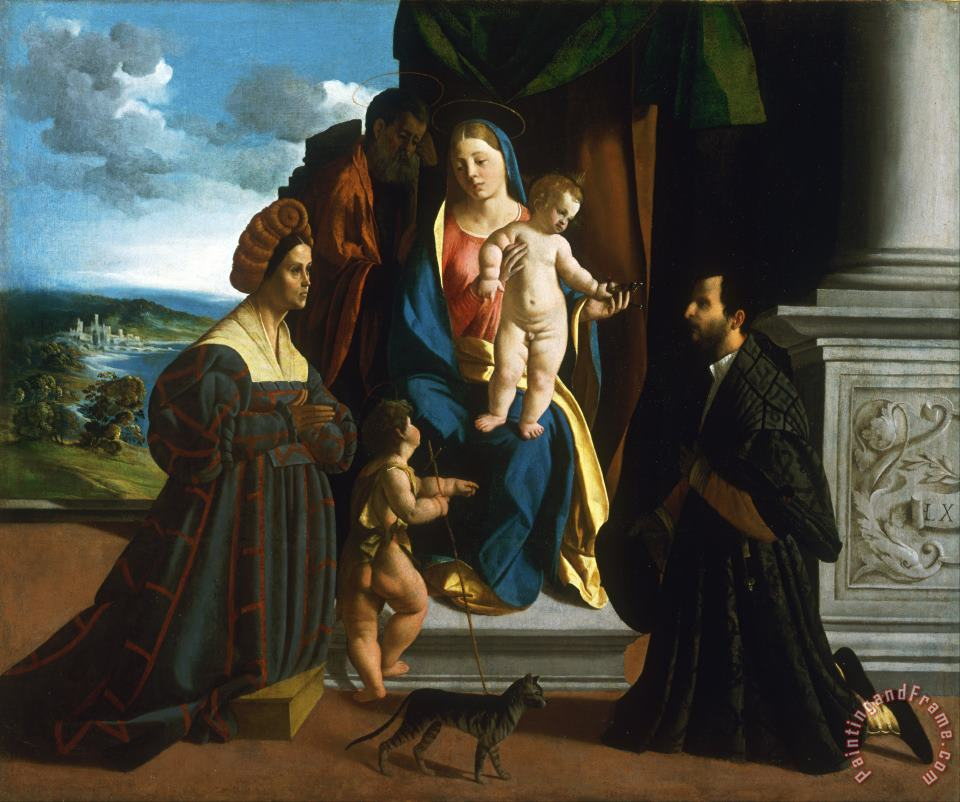 The Holy Family, with The Young Saint John The Baptist, a Cat, And Two Donors painting - Dosso Dossi The Holy Family, with The Young Saint John The Baptist, a Cat, And Two Donors Art Print