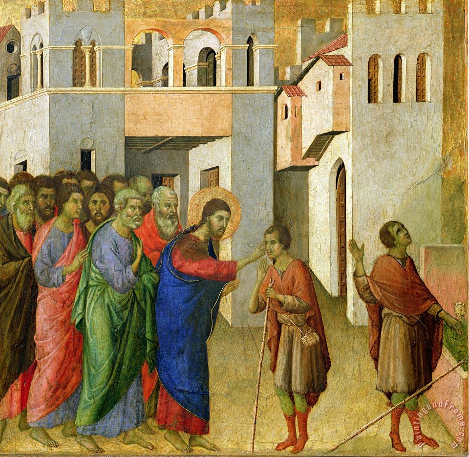 Jesus Opens the Eyes of a Man Born Blind painting - Duccio di Buoninsegna Jesus Opens the Eyes of a Man Born Blind Art Print