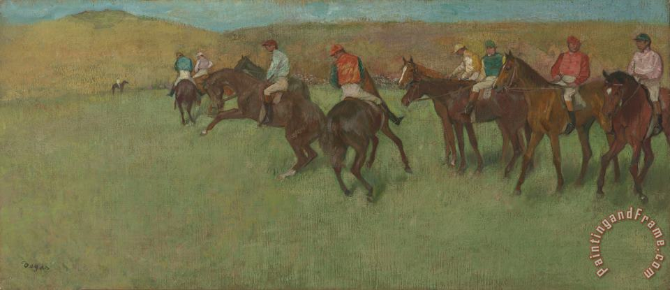 At The Races: Before The Start painting - Edgar Degas At The Races: Before The Start Art Print