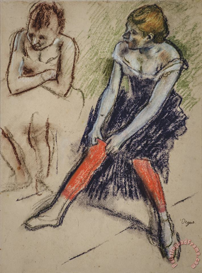 Dancer with Red Stockings painting - Edgar Degas Dancer with Red Stockings Art Print