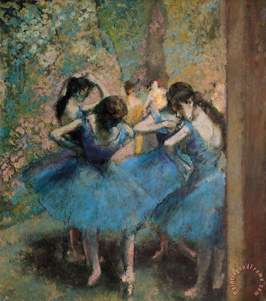 Edgar Degas Dancers in blue Art Painting