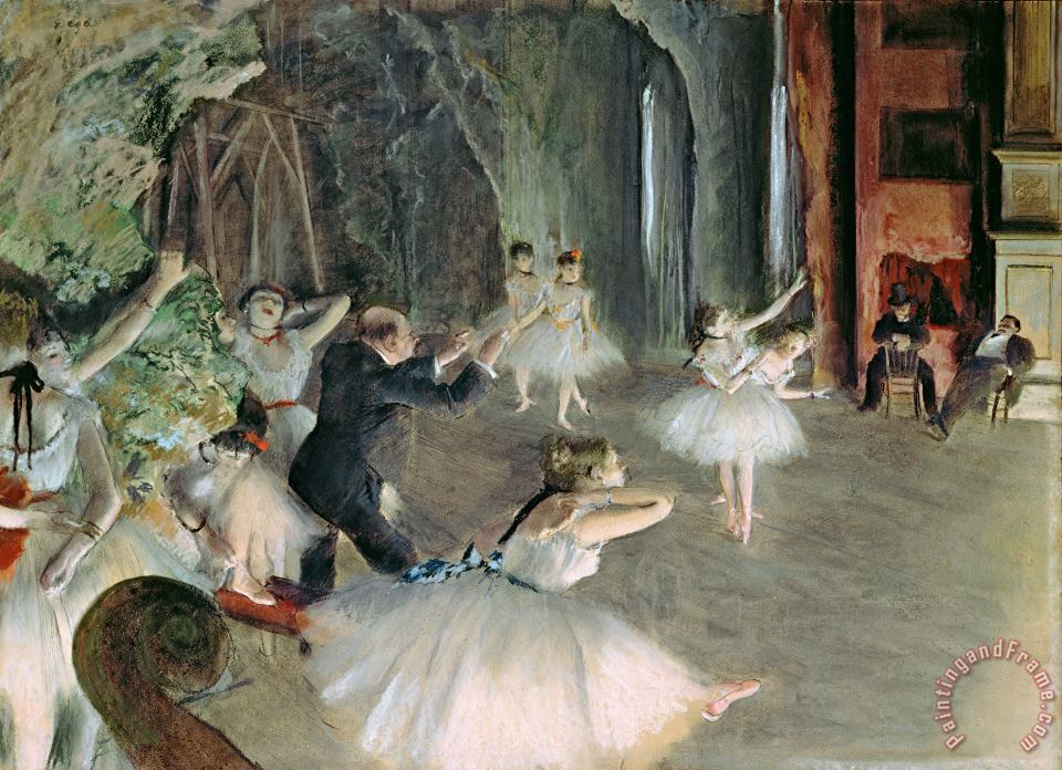 The Rehearsal of the Ballet on Stage painting - Edgar Degas The Rehearsal of the Ballet on Stage Art Print