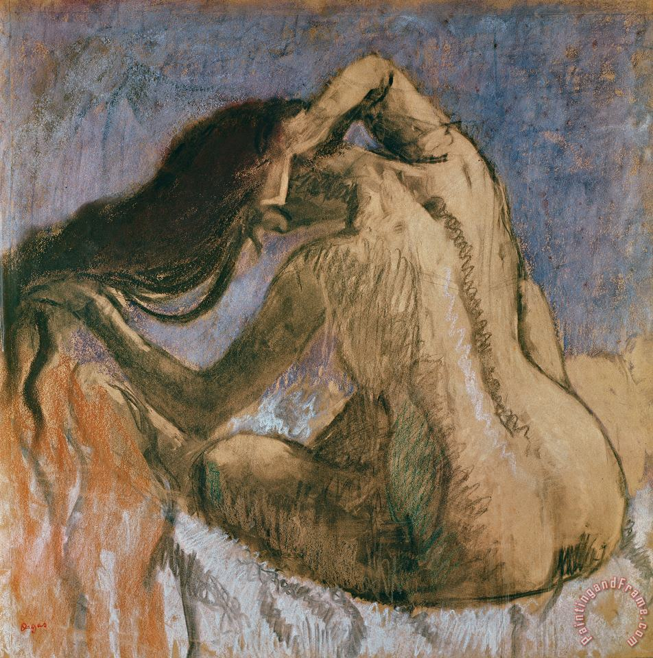 Edgar Degas Woman Combing her Hair Art Print