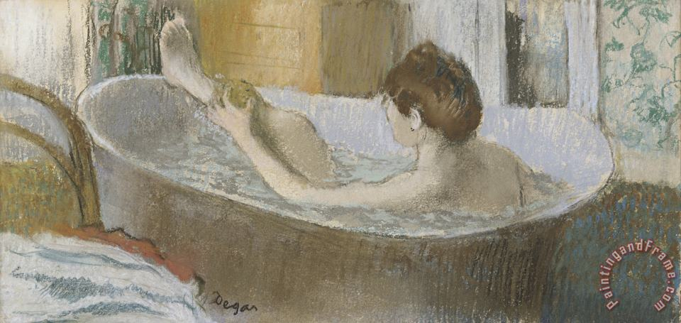 Woman in Her Bath, Sponging Her Leg painting - Edgar Degas Woman in Her Bath, Sponging Her Leg Art Print