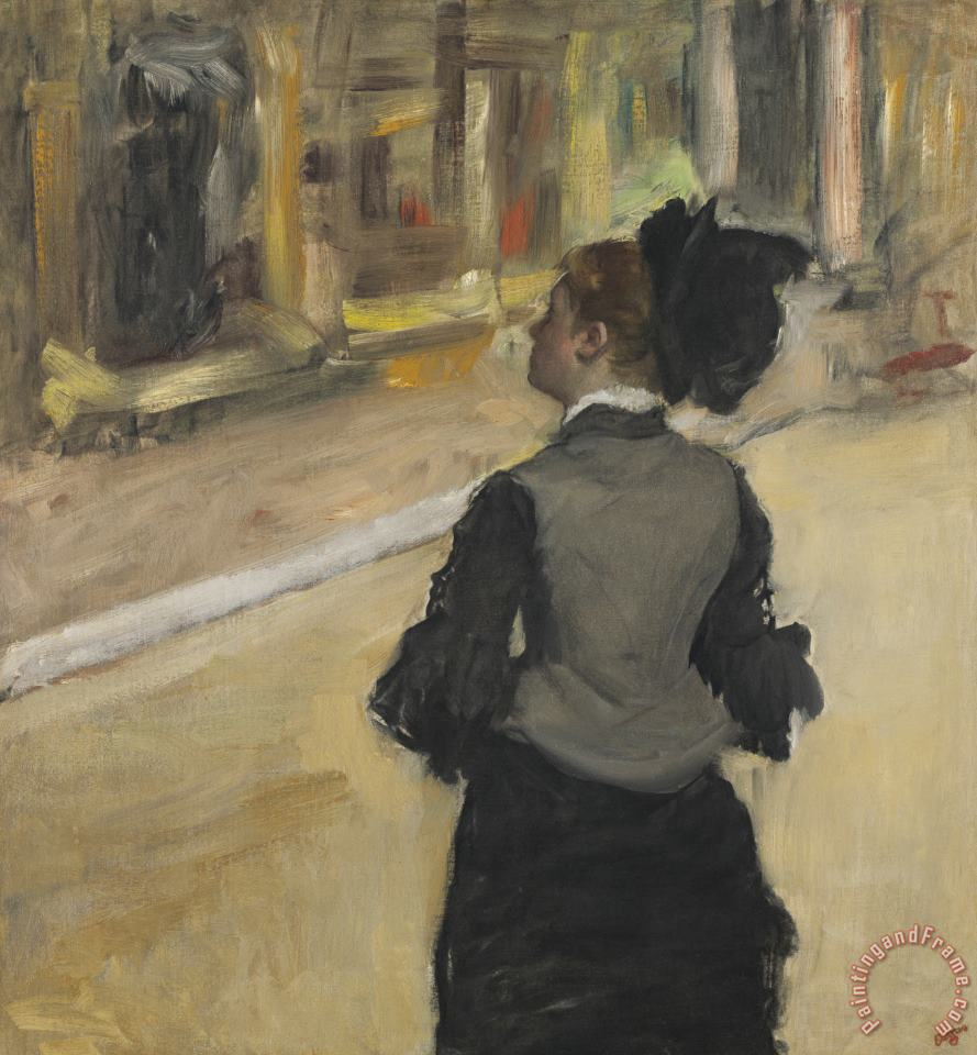 Woman Viewed From Behind (visit to a Museum) painting - Edgar Degas Woman Viewed From Behind (visit to a Museum) Art Print