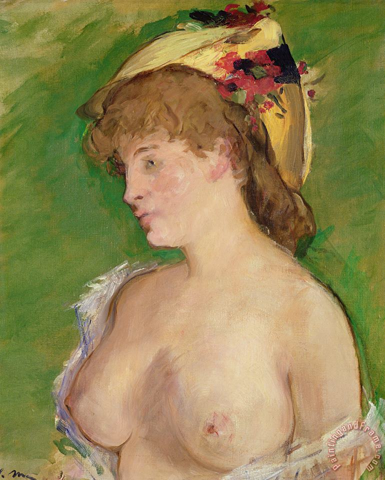The Blonde with Bare Breasts painting - Edouard Manet The Blonde with Bare Breasts Art Print
