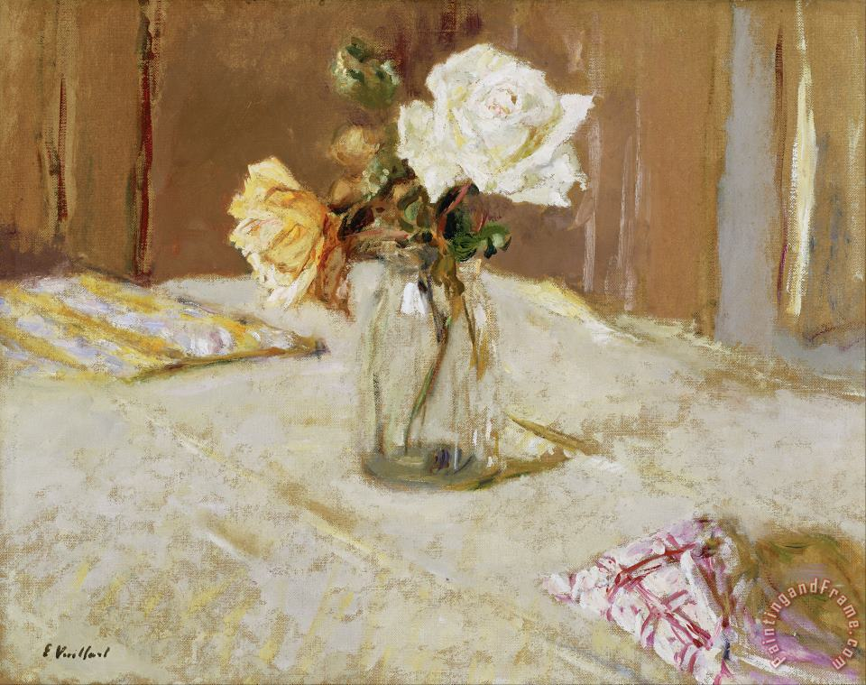 Roses in a Glass Vase painting - Edouard Vuillard Roses in a Glass Vase Art Print