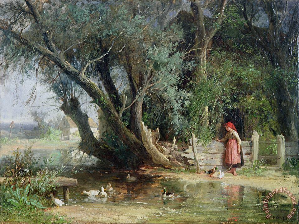 The Duck Pond painting - Eduard Heinel The Duck Pond Art Print